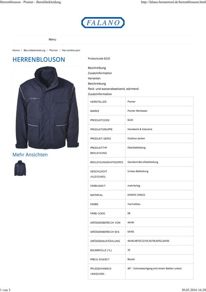Pionier Outdoor Damen Blouson marine Art-Nr 8790 Jacke Berufsjacke Arbeitsjacke