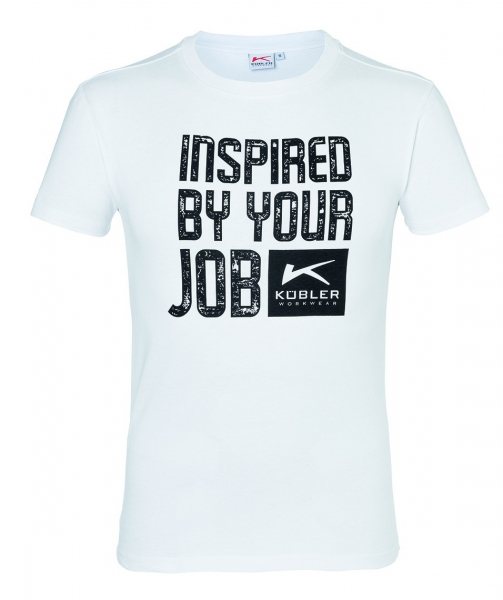 KÜBLER-Workwear-T-Shirts Print, 160 g/m², weiß