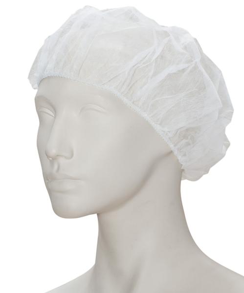 zetDress-Einweg-Hauben, Einmal-Vlieshauben, rund (Barett), weiß, VE: 2000 Stück a 20 Pkg. je 100 Stück