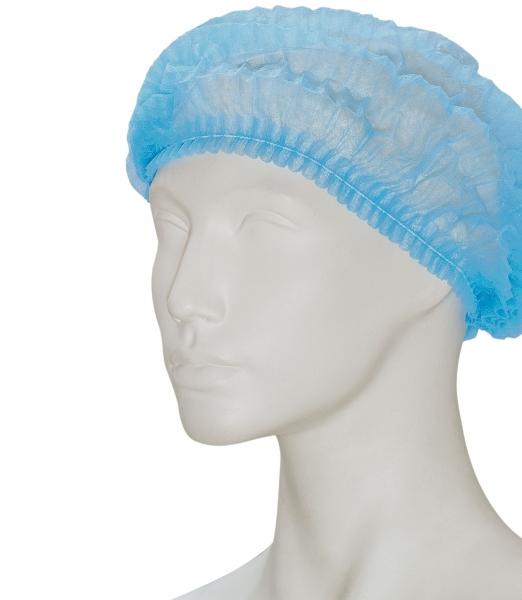 zetDress-Einweg-Hauben, Einmal-Vlieshauben, Clip, blau, VE = 1000 Stück
