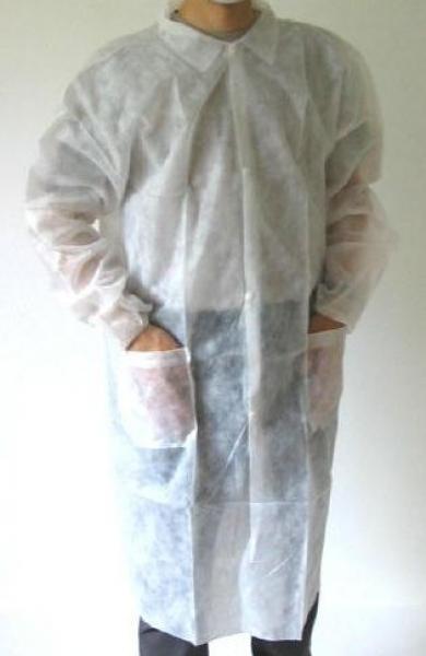 ZVG-PSA-zetDress, Einweg-Vlies-Mäntel, Einmal-Kittel, mit Taschen und Druckknöpfen, weiß, VE = 50 Stück