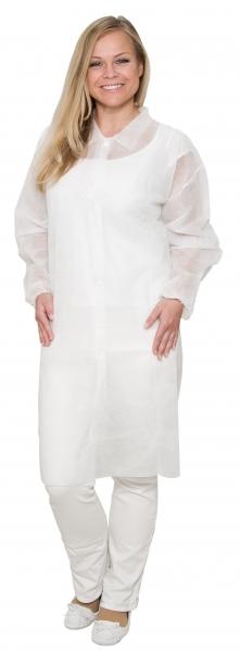 zetDress-Einweg-Bekleidung, Vlies Mantel, Einmal-Kittel mit Druckknöpfen, weiß, ohne Taschen, VE: 50 Stück
