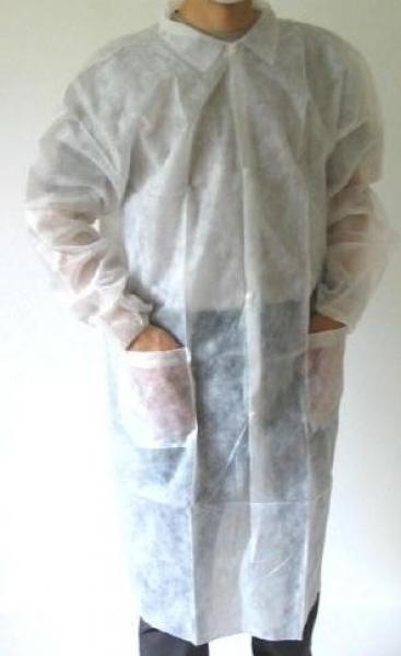 ZVG-PSA-zetDress, Einweg-Vlies-Mäntel, Einmal-Kittel, mit Taschen und Druckknöpfen,weiß, VE = 50 Stück