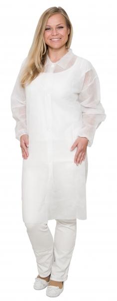 zetDress-Einweg-Bekleidung, Vlies Mantel, Einmal-Mantel mit Druckknöpfen, weiß, ohne Taschen, VE: 50 Stück