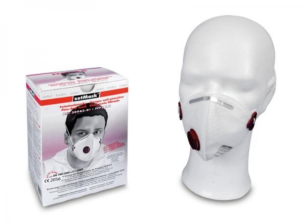zetMask-PSA-Atem-Schutz, Einweg-Fein-Staub-Filter-Maske, FFP2D, mit Ventil, EN 149:2001, VE: 150 St. (10 x 15 St.))