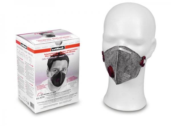 zetMask-PSA-Atem-Schutz, Einweg-Fein-Staub-Filter-Maske, FFP2, mit Ventil und Aktivkohlefilter, EN 149:2001, VE: 150 St.