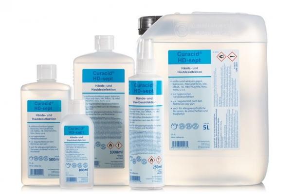 ZVG-zetClean-Hand-/Hände-Desinfektion, Hautdesinfektion, Curacid®HD-sept, Kittelflasche, VE: 50 Stück a 100 ml