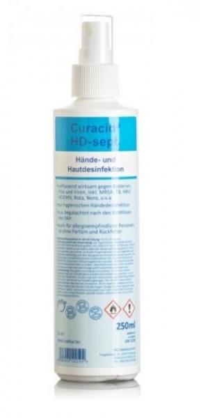 ZVG-zetClean-Hand-/Hände-Desinfektion, Hautdesinfektion, Curacid®HD-sept, Sprayflasche, VE: 20 Flaschen á 250 ml