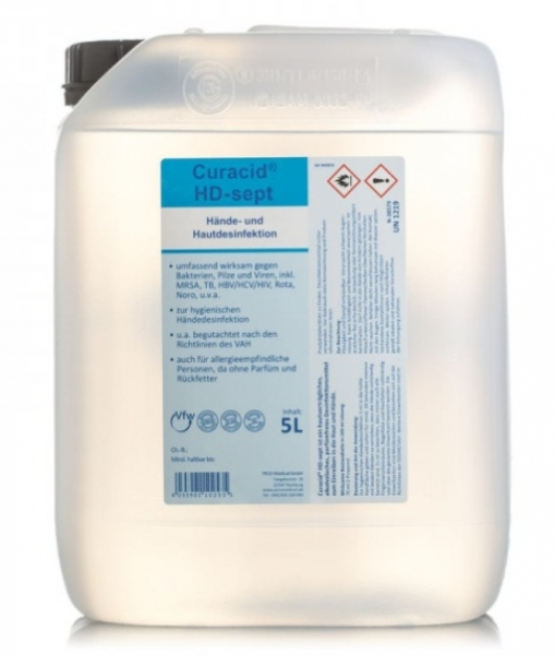 ZVG-zetClean-Hand-/Hände-Desinfektion, Hautdesinfektion, Curacid®HD-sept, VE: 5 Liter Kanister