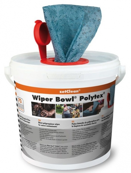 ZVG-zetPutz-Putz-Tücher / Putztuch-Rollen, Wiper Bowl Polytex im Spendereimer, feuchte Reinigungstücher