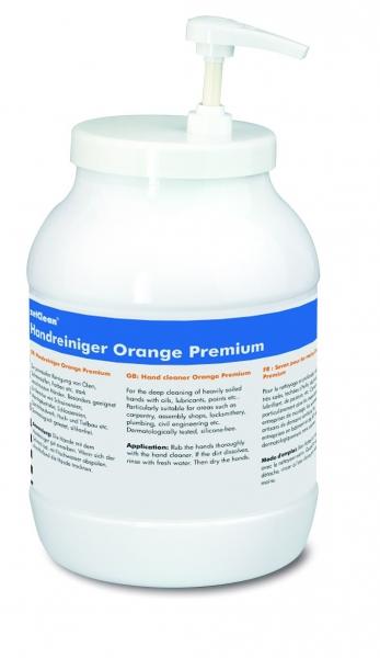 ZVG-zetClean-Hand-/Hände-Reiniger, zetClean Hand-Reinigung, Hände-Reiniger, Orange Premium, mit Pumpe, VE: 6 Kannen a 3-Liter