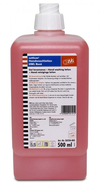 ZVG-zetClean-Hand-/Hände-Reiniger, Handwaschlotion, Rosé, VE: 12 Patronen à 500 ml