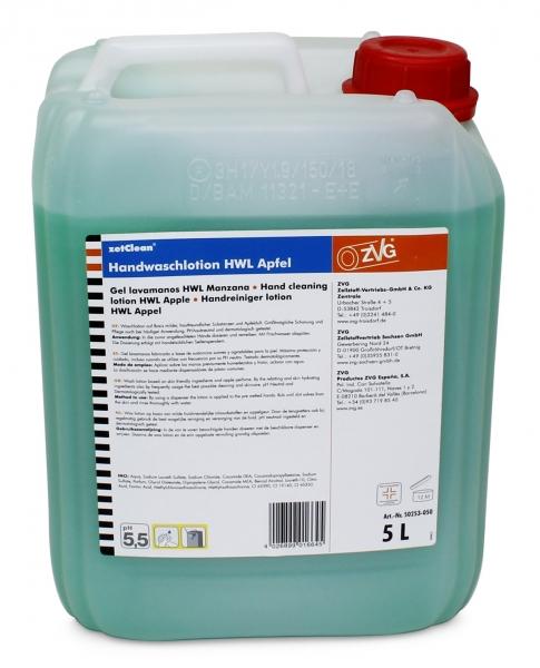 ZVG-zetClean-Hand-/Hände-Reiniger, Handwaschlotion, HWL Apfel, grün, VE: 5-l-Kanister