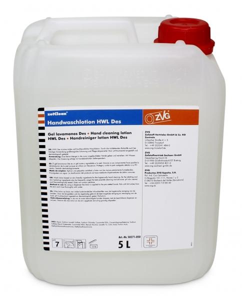 ZVG-zetClean-Hand-/Haut-Schutz-Pflege, Handwaschlotion Neutral Des, desinfizierend, 5 ltr Kanister/ VE: 4 Kan