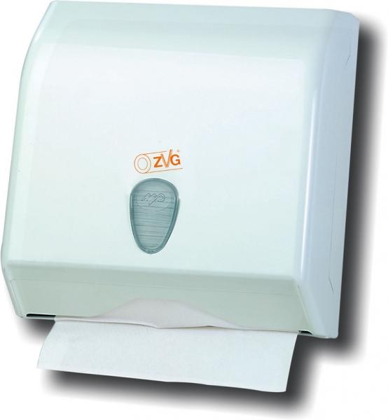 ZVG-zetPutz-Falt-Handtuch-Spender, klein, weißaus Kunststoff, VE: 6 Stück