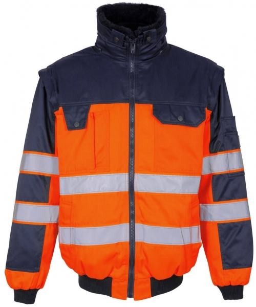 MASCOT-Workwear-Warn-Schutz-Multifunktions-Arbeits-Berufs-Jacke, LIVIGNO, MG300, orange/marine