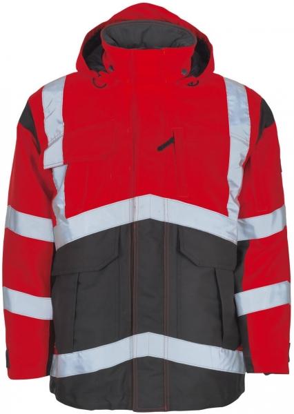 MASCOT-Workwear-Warn-Schutz-Arbeits-Berufs-Parka, AFIFE, fluoreszierendes Rot/dunkelanthr