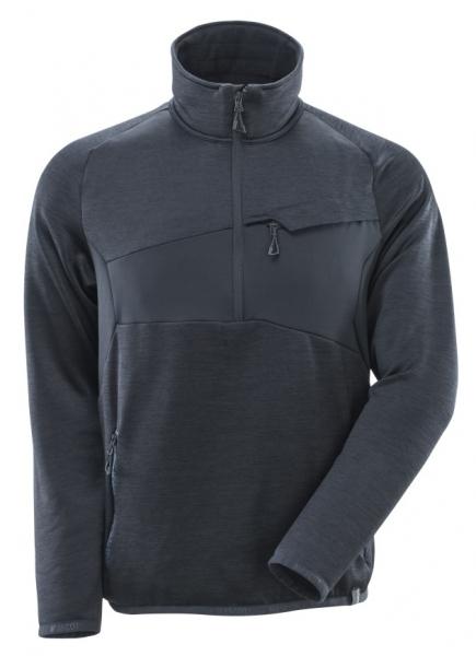 MASCOT-Fleecepullover mit kurzem Reißverschluss, ACCELERATE, 260 g/m², schwarzblau
