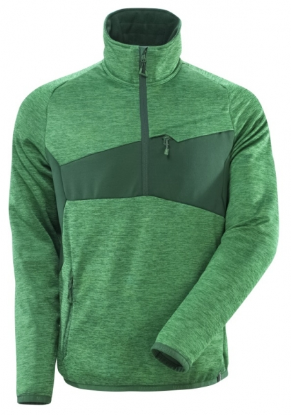 MASCOT-Fleecepullover mit kurzem Reißverschluss, 260 g/m², grasgrün/grün