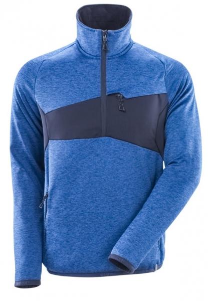 MASCOT-Fleecepullover mit kurzem Reißverschluss, 260 g/m², azurblau/schwarzblau