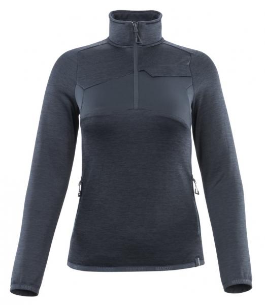 MASCOT-Damen-Fleecepullover mit kurzem Reißverschluss, ACCELERATE, 260 g/m², schwarzblau