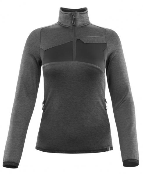 MASCOT-Damen-Fleecepullover mit kurzem Reißverschluss, 260 g/m², dunkelanthrazit/schwarz