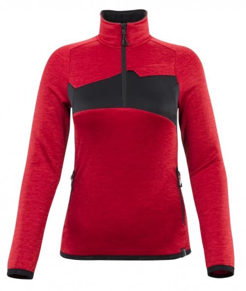 MASCOT-Damen-Fleecepullover mit kurzem Reißverschluss, 260 g/m², verkehrsrot/schwarz