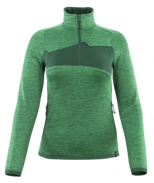 MASCOT-Damen-Fleecepullover mit kurzem Reißverschluss, ACCELERATE, 260 g/m², grasgrün/grün