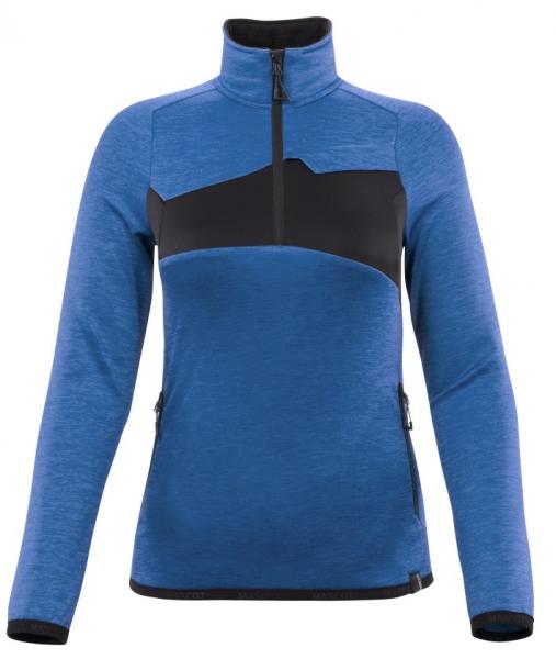 MASCOT-Damen-Fleecepullover mit kurzem Reißverschluss, 260 g/m², azurblau/schwarzblau