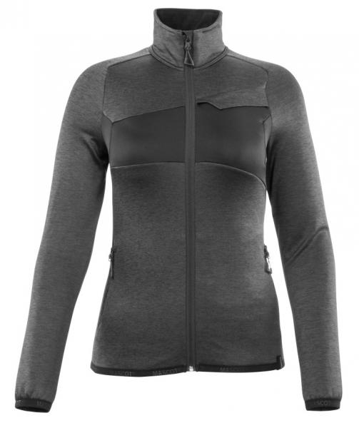MASCOT-Damen Fleecepullover mit Reißverschluss, 260 g/m², dunkelanthrazit/schwarz