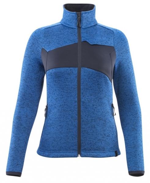 MASCOT-Damen Strickpullover mit Reißverschluss, 300 g/m², azurblau/schwarzblau