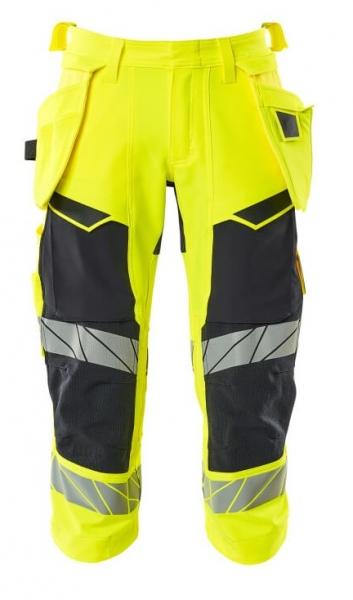 MASCOT-Warnschutz-Dreiviertel Hose, ACCELERATE SAFE, warngelb/schwarzblau