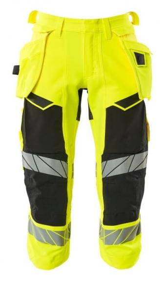 MASCOT-Warnschutz-Dreiviertel Hose, ACCELERATE SAFE, warngelb/schwarz