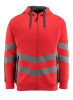 MASCOT-Warnschutz-Sweatshirt, Corby,  310 g/m², rot/dunkelanthrazit