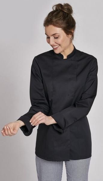 LEIBER-Damen-Kochjacke, langarm, schwarz