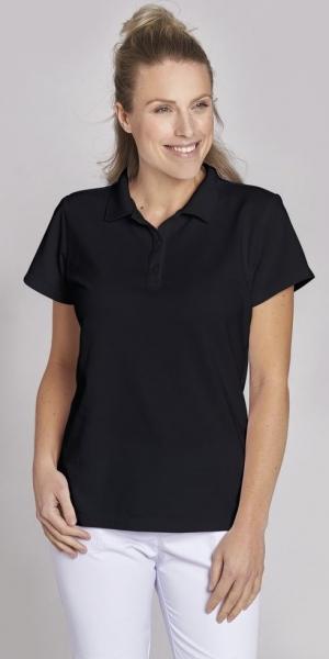 LEIBER-Damen-Poloshirt, schwarz