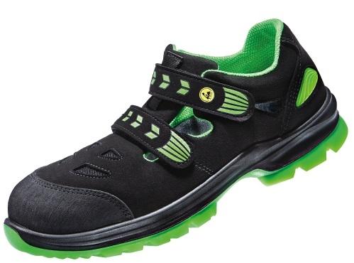 ATLAS-S1P-Sicherheits-Arbeits-Berufs-Sandalen, SL 265 XP green, Weite 12, schwarz/grün