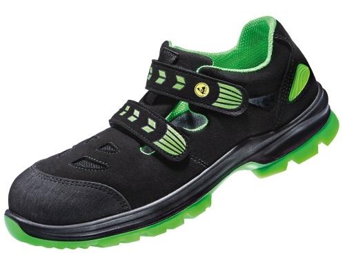 ATLAS-S1-Sicherheits-Arbeits-Berufs-Sandalen, SL 26 green, Weite 12, schwarz/grün