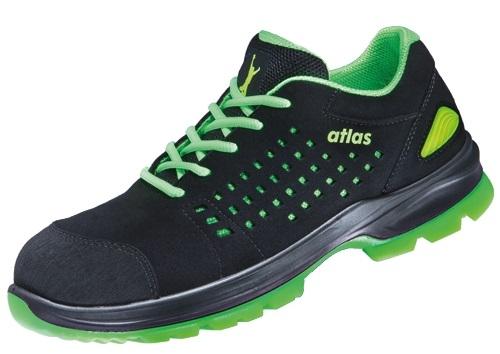ATLAS-S1P-Sicherheits-Arbeits-Berufs-Schuhe, Halbschuhe, SL 205 XP green, Weite 12, schwarz/grün