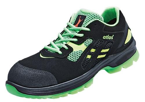 ATLAS-S1P-Sicherheits-Arbeits-Berufs-Schuhe, Halbschuhe, FLASH 2605 XP, Weite: 12, ESD, schwarz/grün