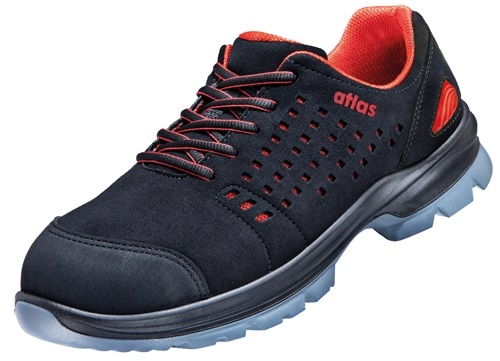 ATLAS-S1-Sicherheits-Arbeits-Berufs-Schuhe, Halbschuhe, SL 30 red, ESD, Weite 12, schwarz/rot