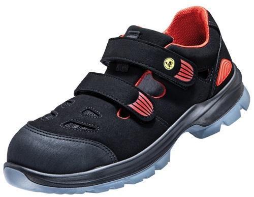 ATLAS-S1-Sicherheits-Arbeits-Berufs-Sandalen, SL 36 red, ESD, schwarz/rot, Weite: 12