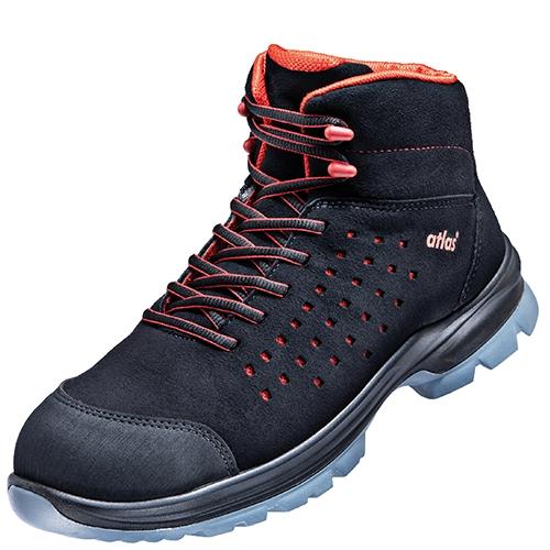 ATLAS-S1-Sicherheits-Arbeits-Berufs-Schuhe, Hochschuhe, SL 32 red, ESD, Weite 12, schwarz/rot
