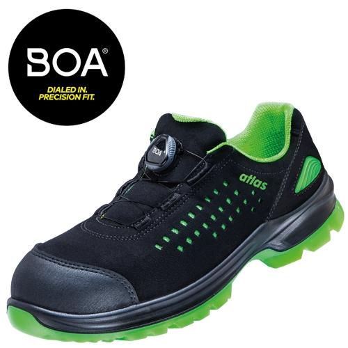 ATLAS-S1-Sicherheits-Arbeits-Berufs-Schuhe, Halbschuhe, SL 920 Boa, ESD, Weite 12, schwarz/grün