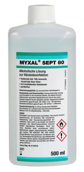 GREVEN-Hand-/Hände-Desinfektion, Myxal Sept 80, 500 ml Hartflasche