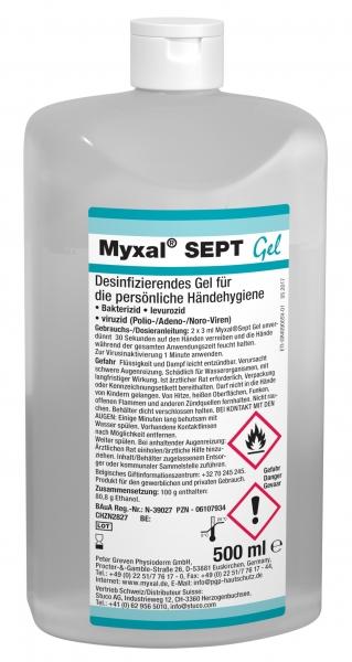 GREVEN-Hand-/Hände-Desinfektion, Myxal Sept Gel, 500 ml Hartflasche