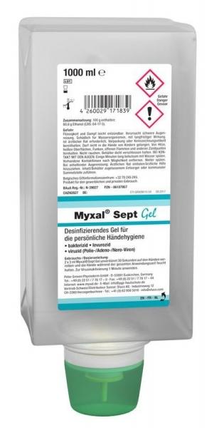 GREVEN-Hand-/Hände-Desinfektion, Myxal Sept Gel, 1000 ml Faltflasche