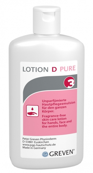 GREVEN-Hand-/Haut-Schutz-Pflege, SPEZIALLOTION,  D PURE , unparfümiert, 100 ml Flasche