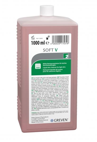 GREVEN-Hand-/Hände-Reiniger, REINIGUNGSLOTION, Soft V, 1000 ml Flasche