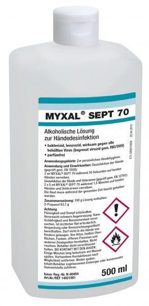 GREVEN-Hand-/Hände-Desinfektion, Myxal Sept 70, 500 ml Hartflasche